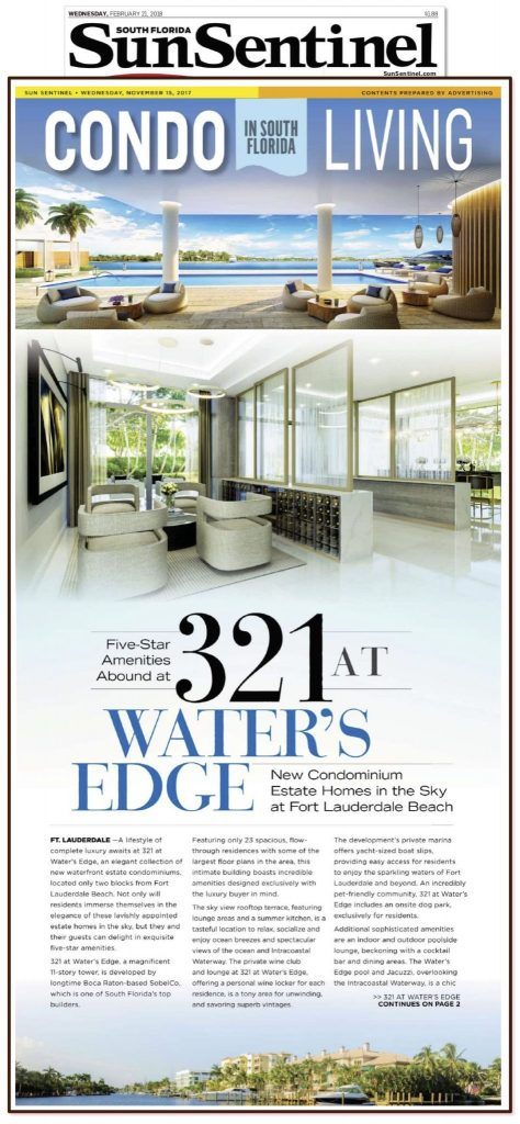 Five-Star Amenities Abound at 321 at Water's Edge