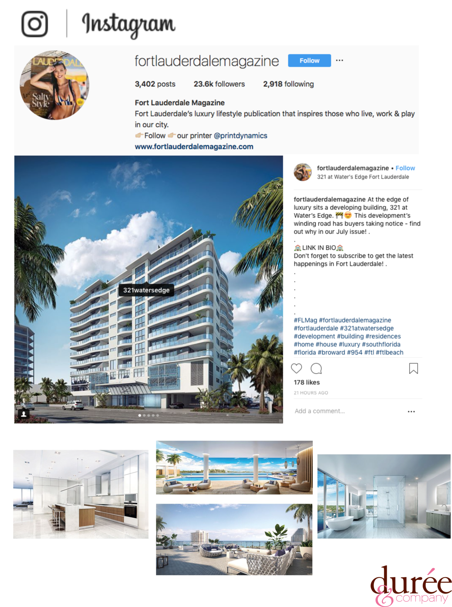 Image of SobelCo developer's 321 Water's Edge feature on FortLauderdaleMagazine Instagram